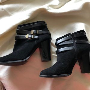 Black Suede Patent Leather Bootie inside zip